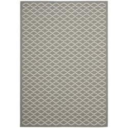 Dark Grey/ Beige Indoor Outdoor Geometric Rug (8' x 11' 2