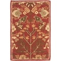 Handmade Heritage Tree of Life Red Wool Rug (2' x 3')