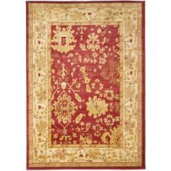 Oriental Oushak Red/Cream Powerloomed Rug (5'3 x 7'6)