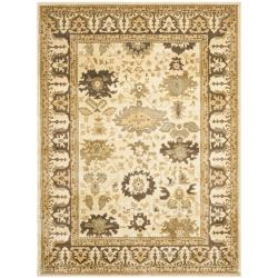 Oushak Cream/ Brown Powerloomed Rug (8' x 11')