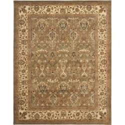 Handmade Mahal Green/ Beige New Zealand Wool Rug (6' x 9')