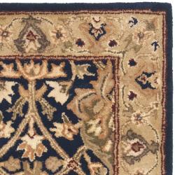Handmade Mahal Blue/ Gold New Zealand Wool Rug (2' x 3')