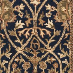 Handmade Mahal Blue/ Gold New Zealand Wool Rug (2'6 x 8')