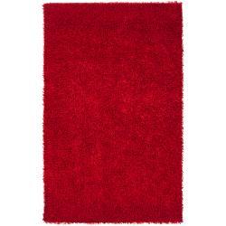 Hand-woven Red Jalopnik Soft Shag Rug (5' x 8')