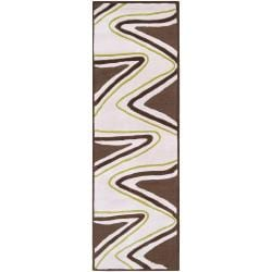B. Smith Hand-tufted Brown Contemporary Torrence New Zealand Wool Abstract Rug (2'6 x 8')