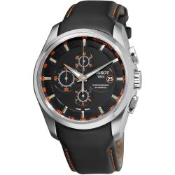 Tissot Men's 'Couturier' Black Chronograph Dial Black Strap Watch