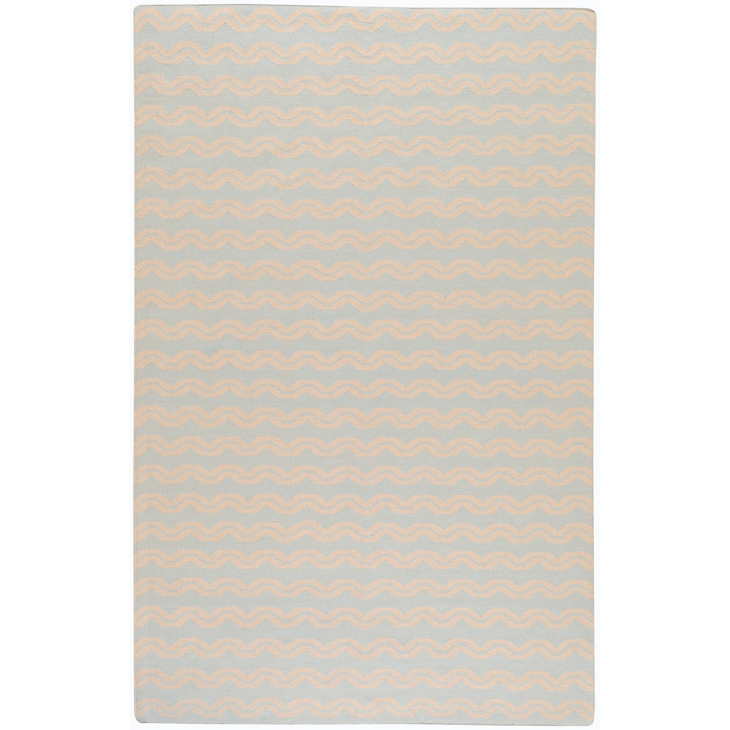 Hand-woven Gallup Blue Wool Rug (8' x 11')