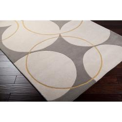 Hand-tufted Contemporary Portales Gray New Zealand Wool Geometric Rug (8' x 11')