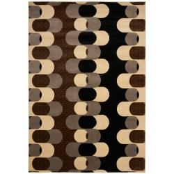 Meticulously Woven Black/Brown Mockernut Geometric Rug (7'10 x 10'3)