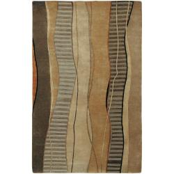 Hand-knotted Green Stripe Contemporary Taos Wool Abstract Rug (2' x 3')