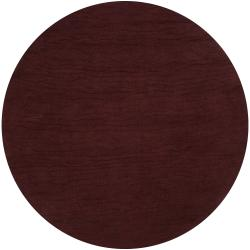 Hand-crafted Brown Solid Casual Crabapple Wool Rug (9'9 Round)