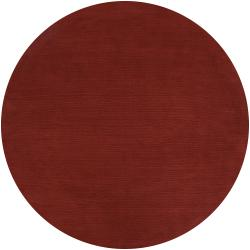 Hand-crafted Rust Red Solid Casual Wool Rug (9'9 Round)