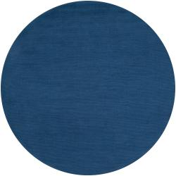 Hand-crafted Solid Blue Causal Mulberry Wool Rug (8' Round)