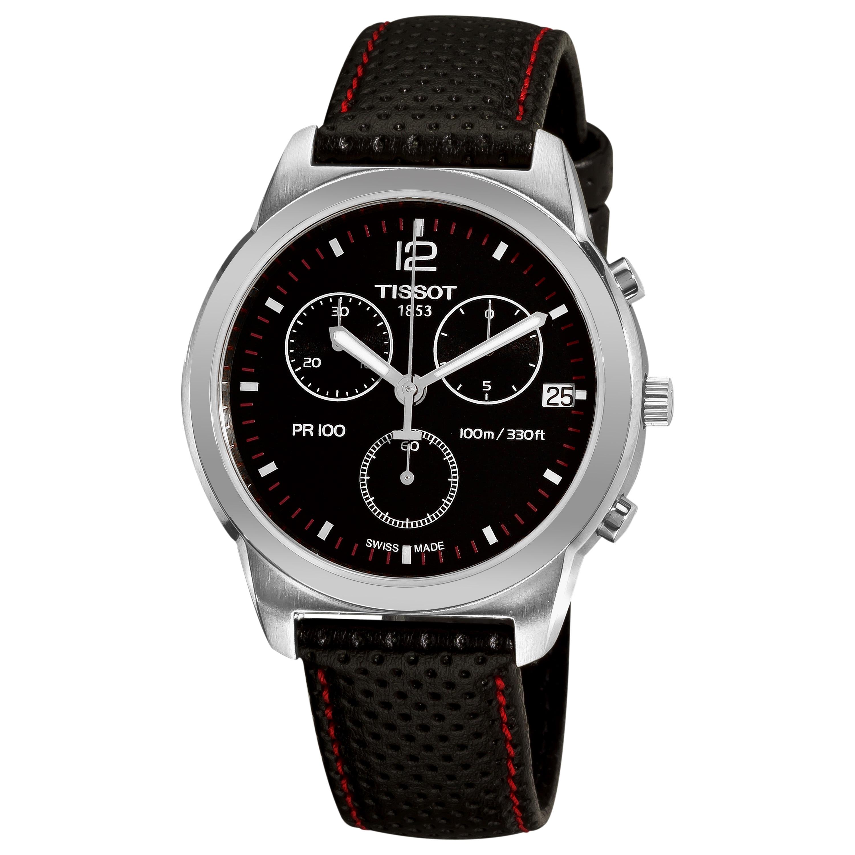Tissot Men's 'PR 100' Black Chronograph Dial Black Strap Watch