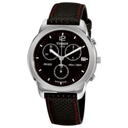 Tissot Men's 'PR 100' Black Chronograph Dial Black Strap Watch