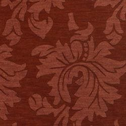 Hand-crafted Solid Red Damask Cement Wool Rug (5' x 8')