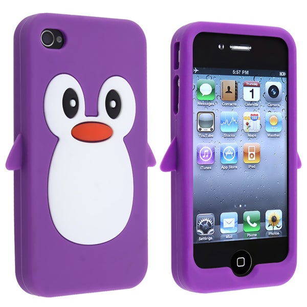 Purple Penguin Silicone Skin Case for Apple iPhone 4/ 4S