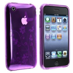 Purple Flower/ Butterfly TPU Rubber Skin Case for Apple iPhone 3G/ 3GS
