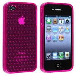 Clear Hot Pink Mid Diamond TPU Rubber Skin Case for Apple iPhone 4/ 4S