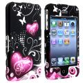 INSTEN Dark Purple Heart With Butterfly Snap-on Phone Case Cover for Apple iPhone 4/ 4S