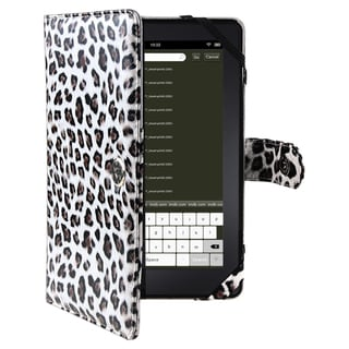 Black Leopard-print Synthetic-leather Case for Amazon Kindle Fire