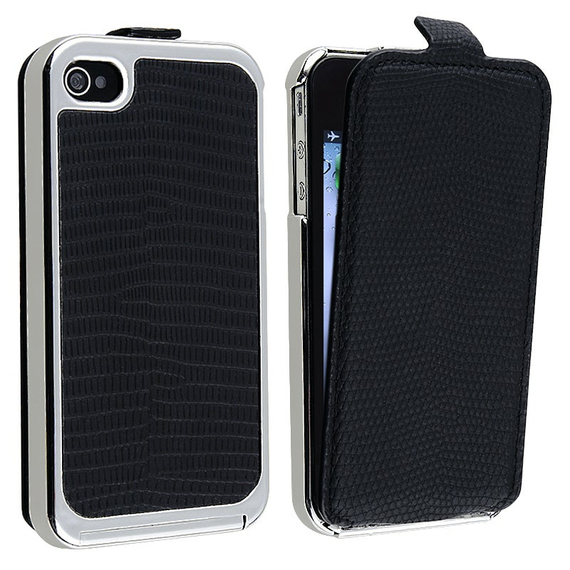 Black Snap-on Case with Removable Leather Cover for Apple iPhone 4/ 4S