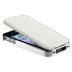 White Snap-on Case with Removable Leather Cover for Apple iPhone 4/ 4S