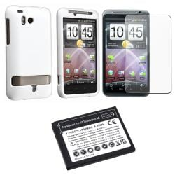 INSTEN White Phone Case Cover/ Screen Protector/ Battery for HTC ThunderBolt 4G