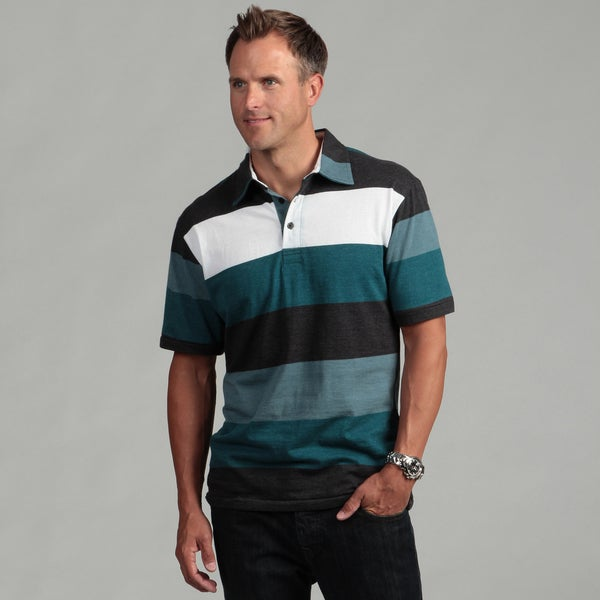 Burnside Men's Charcoal Stripe Polo Shirt
