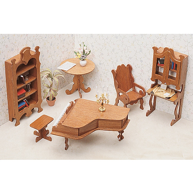 Unfinished Wood Seven Piece Dollhouse Furniture Kit