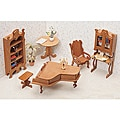 Unfinished-wood Seven-piece Dollhouse Furniture Kit (Library)