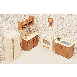 Unfinished Wood Kitchen Dollhouse Furniture Kit