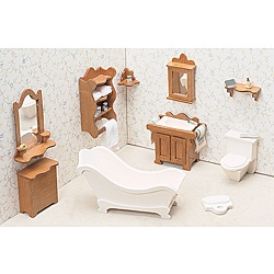 Unfinished Wood 10-piece Contemporary Bathroom Dollhouse Furniture