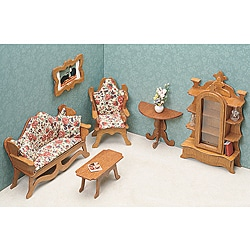 Unfinished Wood Living Room Dollhouse Furniture Kit | Overstock