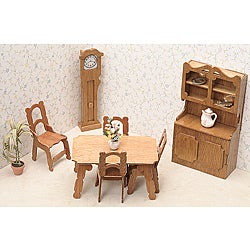 Unfinished Wood Dining Room Dollhouse Furniture Kit