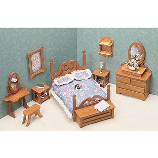 Brown Unfinished-wood Nine-piece Dollhouse Bedroom Furniture Kit