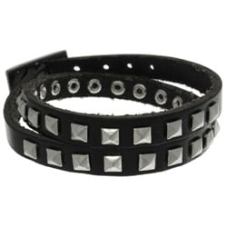 CGC Black Leather and Stainless Steel Pyramid Stud Wrap Bracelet