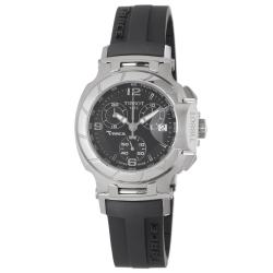 Tissot Women's 'T Race' Black Dial Black Rubber Strap Watch