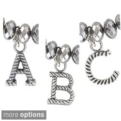 Roman Silvertone Initial Rope Beaded Antiqued Stretch Bracelet