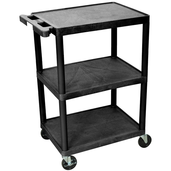 Luxor Black 3-Shelf Heavy-Duty Utility Cart