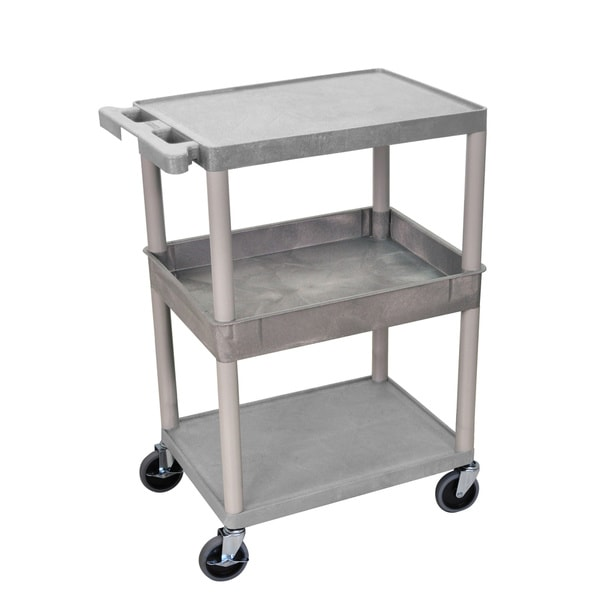 Luxor Heavy-duty Three-shelf Utility Cart with Locking Caster Wheels