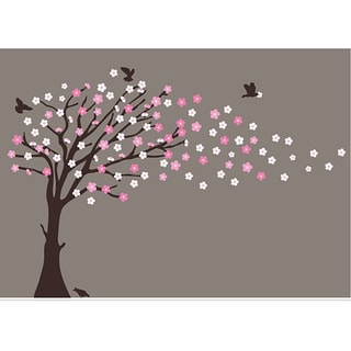 Nursery Wall Art Blowing Cherry Blossom Tree Decal Set