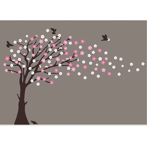 Wall Art Decals Cherry Blossom : Nursery wall art blowing cherry blossom tree decal set