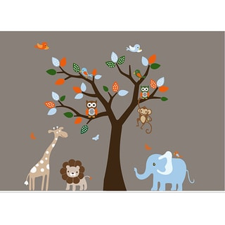 Nursery Wall Art Colorful Safari Decal Set