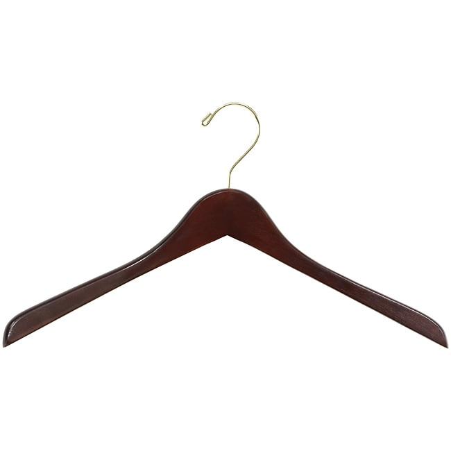 Safco Deluxe Contoured Walnut Finish Wooden Coat Hangers (Pack of 8)