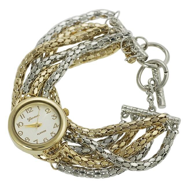Geneva Platinum Women's Two-tone Toggle Watch