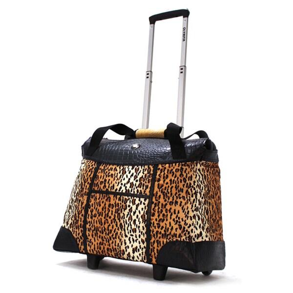 Olympia Deluxe Leopard Women's Rolling 17-inch Laptop Tote