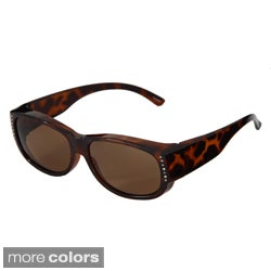 Hot Optix Women's Bejeweled Polarized Wrap Sunglass