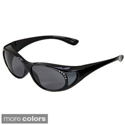 Hot Optix Women's Jeweled Polarized Over-the-Glass Wrap Sunglasses