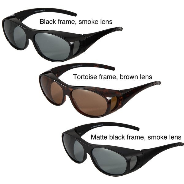 Hot Optix Men's Plastic Polarized Over-the-Glass Wrap Sunglasses